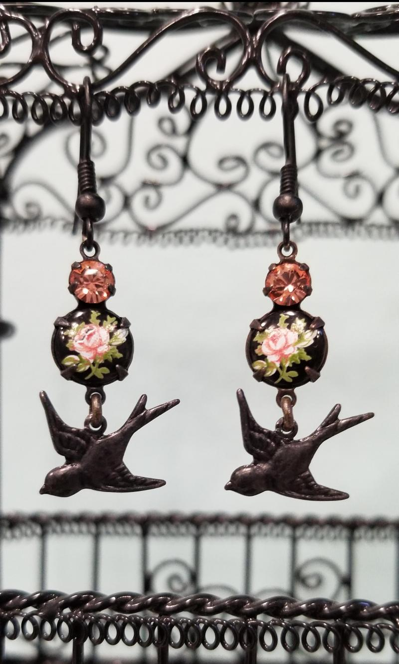 Pink Rose and Black Sparrow Earrings