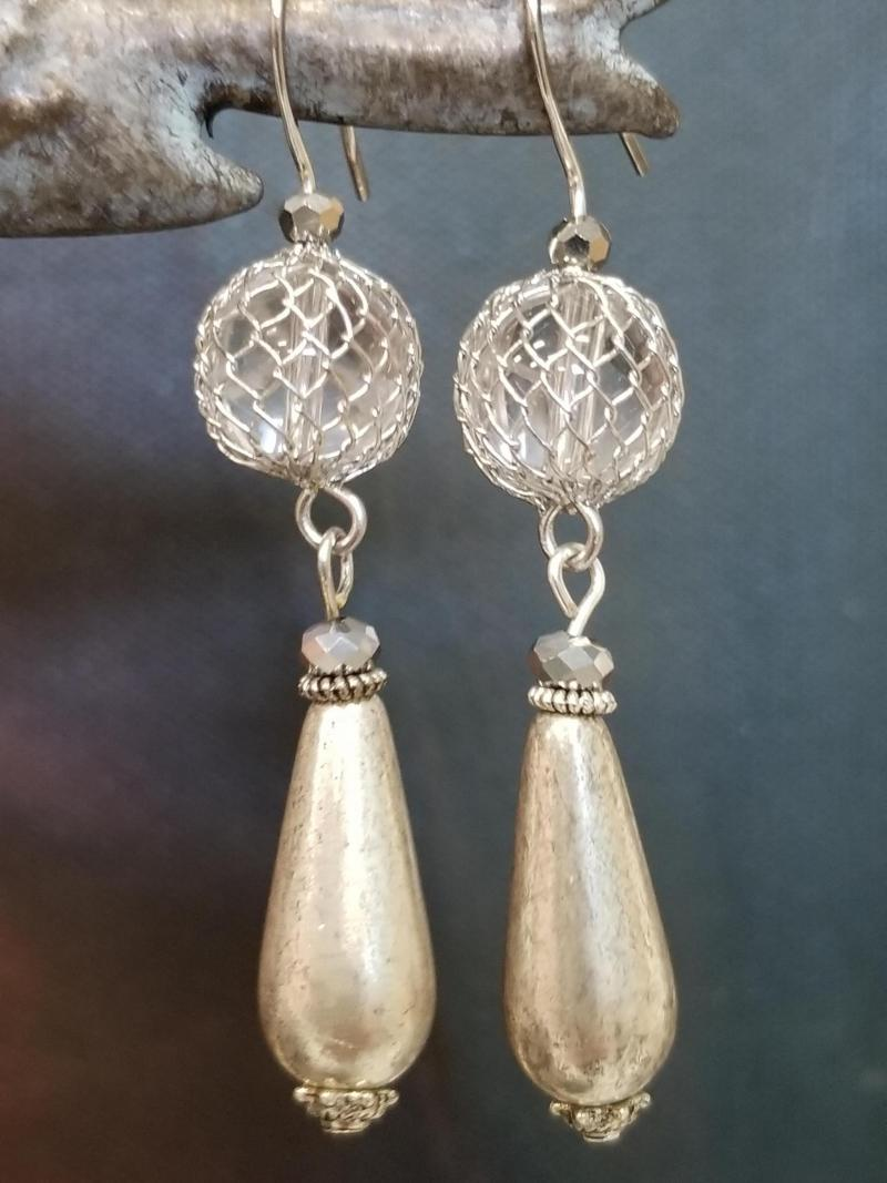 ANTIQUED TEAR DROP AND CAGED BEAD EARRINGS