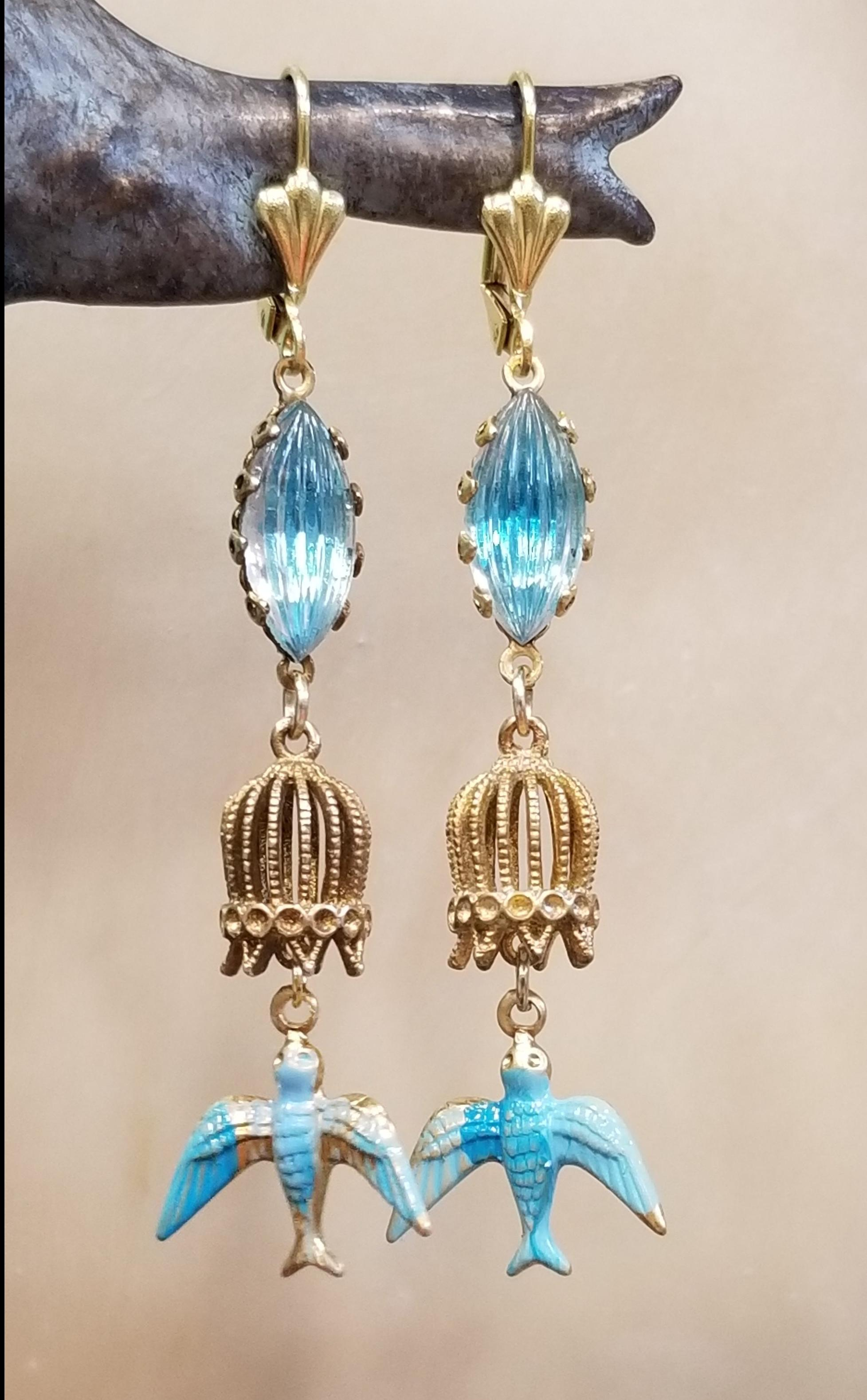 Bird Cage And Bluebird Earrings Behold Jewelry Designs West Hartford Ct