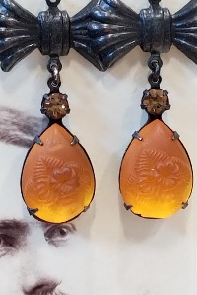 Golden Amber Tulip Flower Earrings