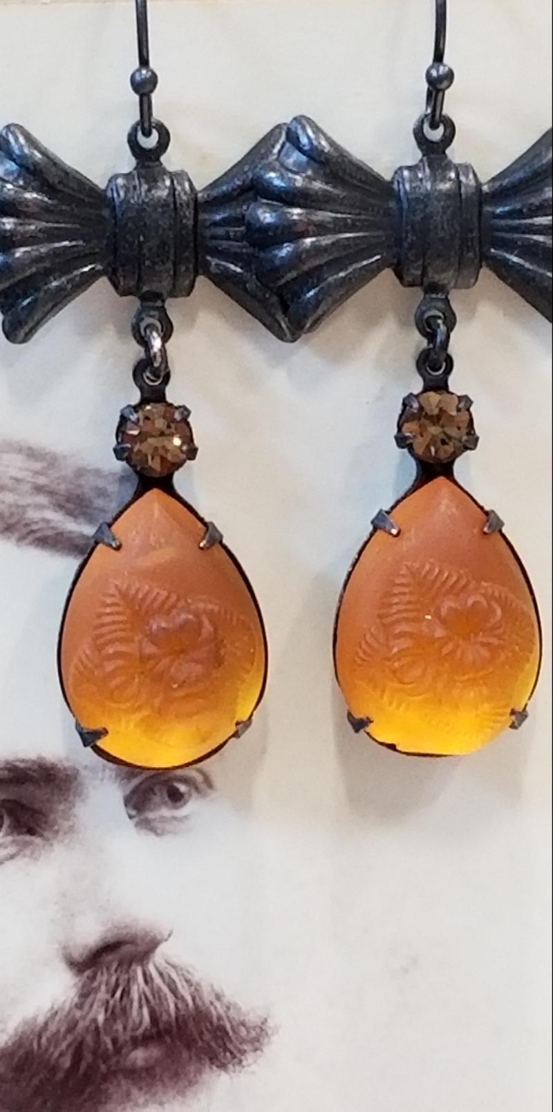 Golden Amber Tulip Flower Earrings
