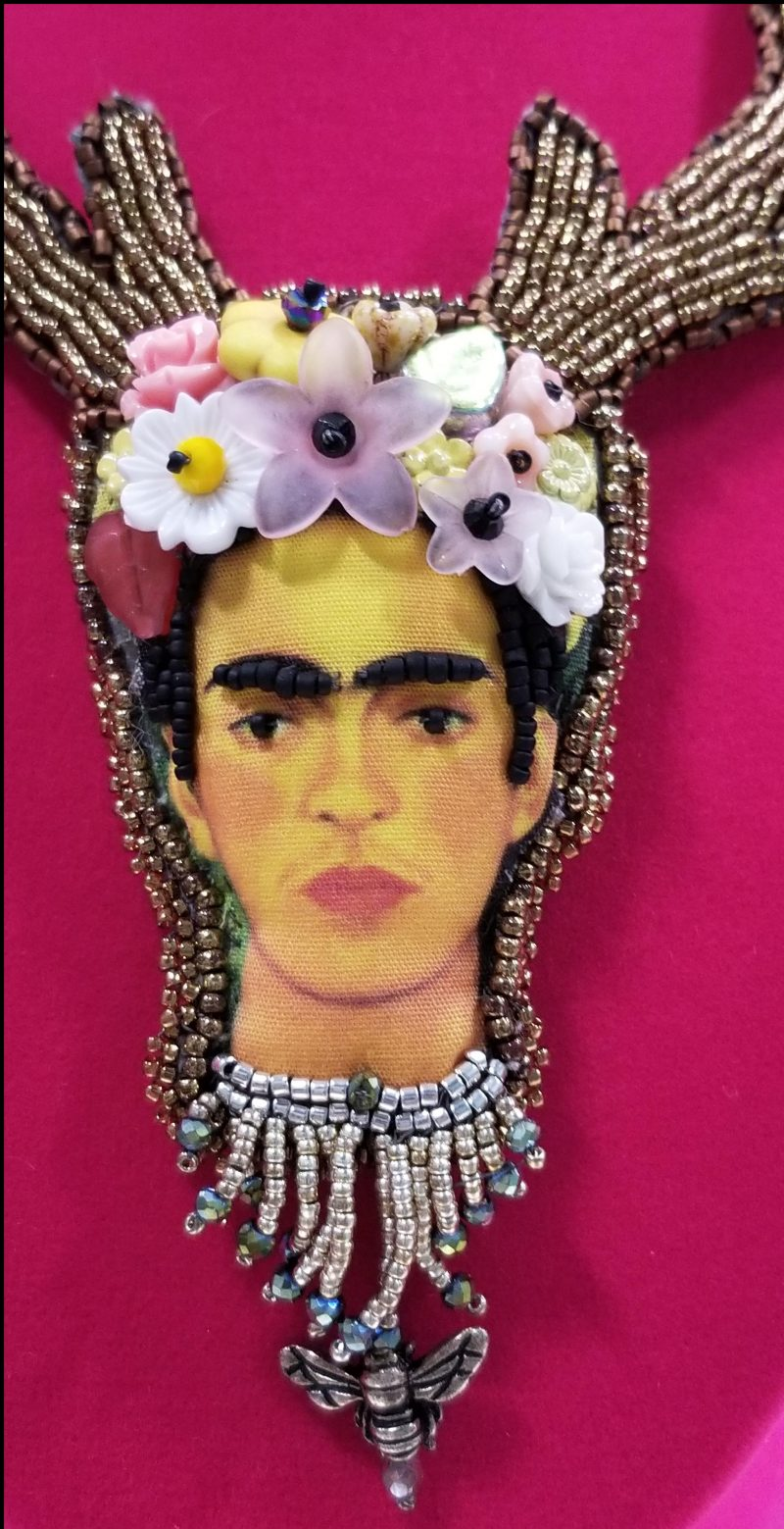 Frida Kahlo Bead Embroidered Necklace