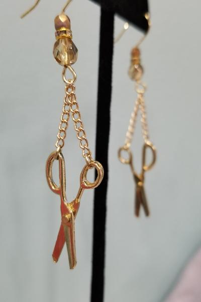 Golden Scissors Earrings