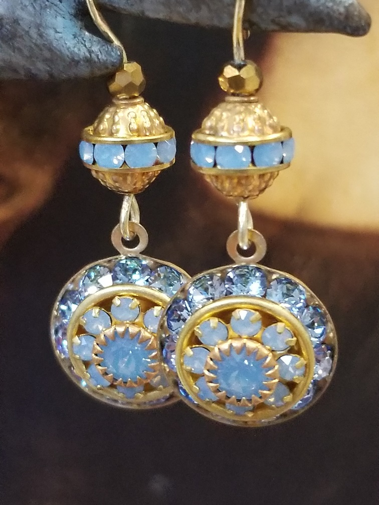 Elegant Light Blue Opal and Crystal Drop Earrings