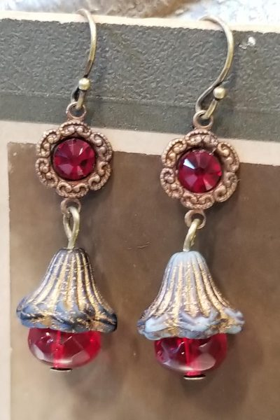 Crimson Floral Drop Earrings