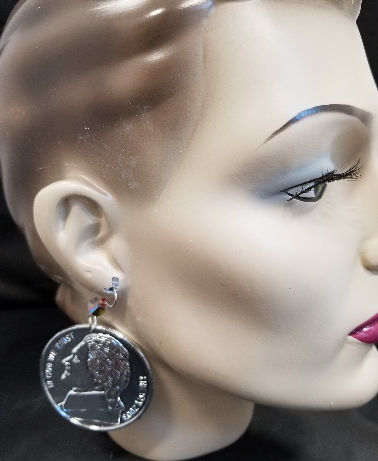 Enormous Nickel Five Cent Coin Earrings
