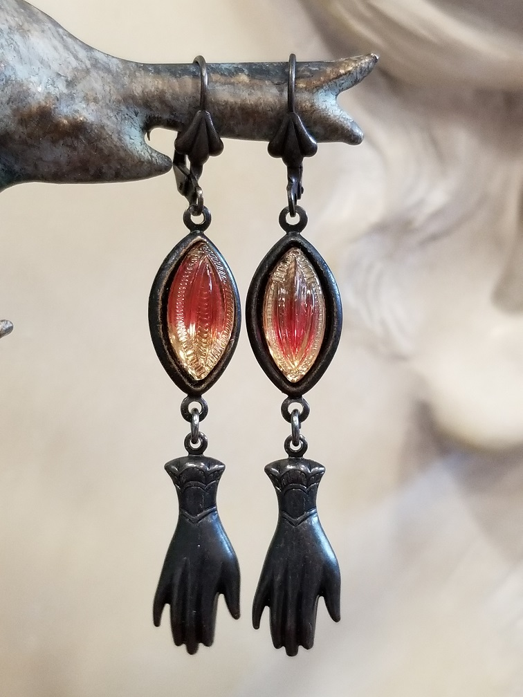 Ombre Victorian Hand Earrings