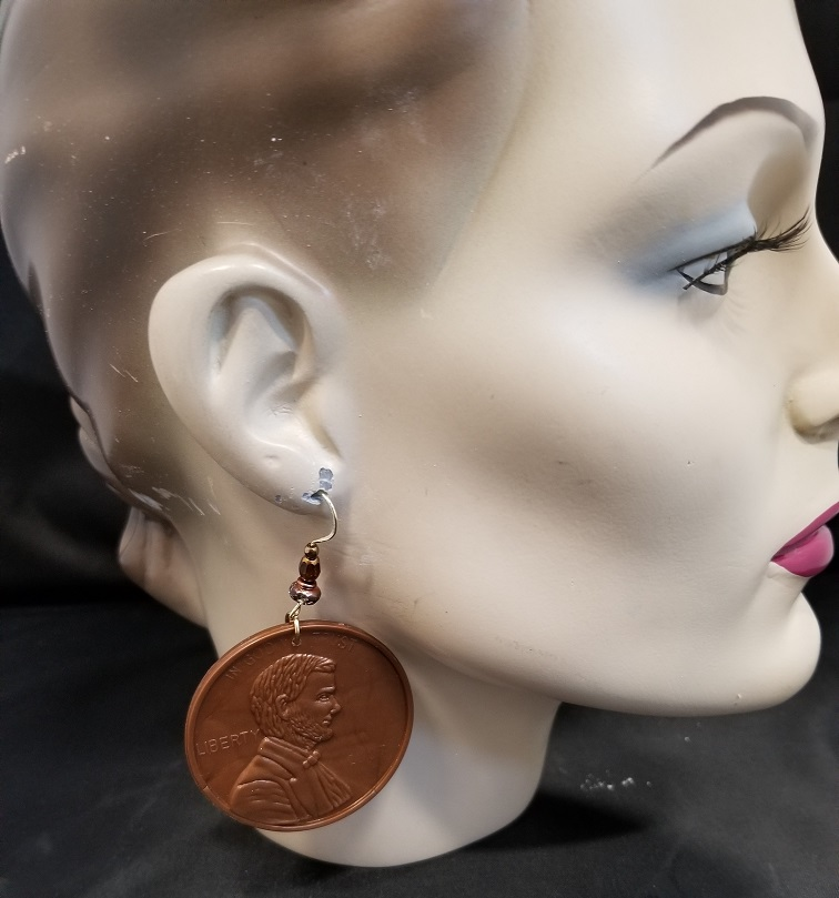 Massive One Cent Penny Earrings