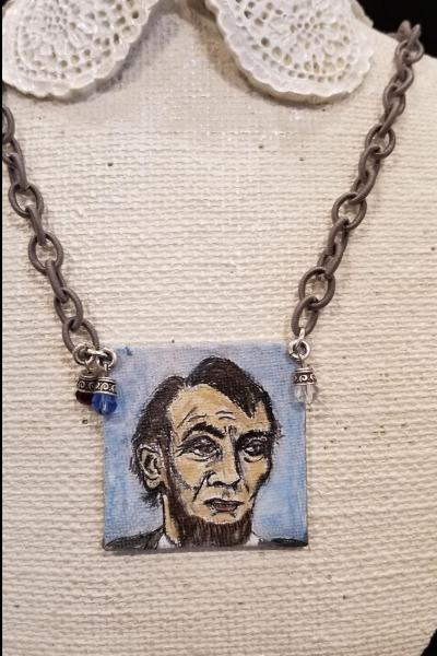 Honest and Haggard Abe Lincoln Handpainted Necklace