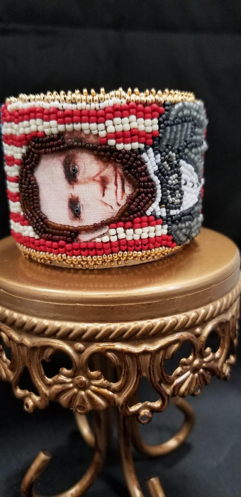 Abraham Lincoln Bead Embroidered Cuff
