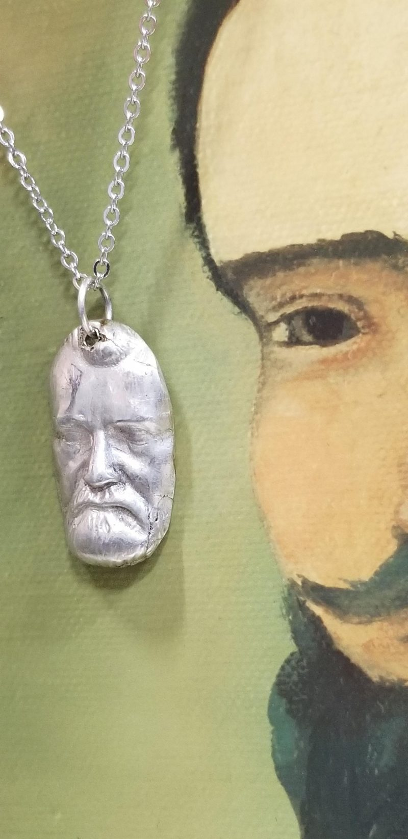 Angry Bearded Man Silver Pendant