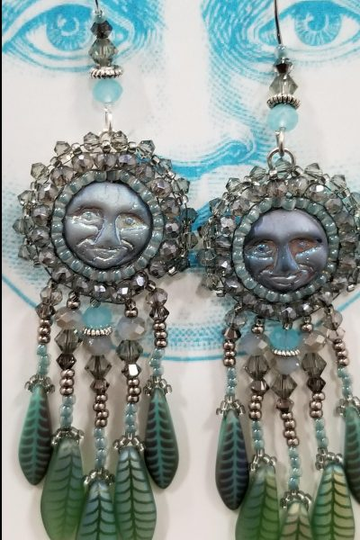 Celestial Moon Face Earrings (Sea Green and Blue)
