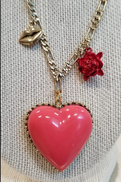 Betsey Johnson Coral Heart and Gold Lips Necklace
