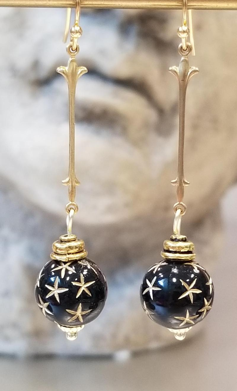 Black Starry Night Earrings