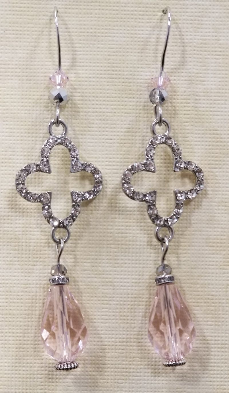 Clover Cross Faux Diamond Dangle Earrings
