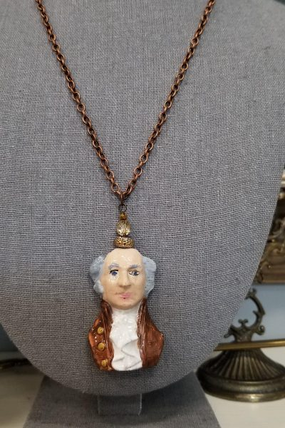 Colonial Man Pendant and Bronze Chain