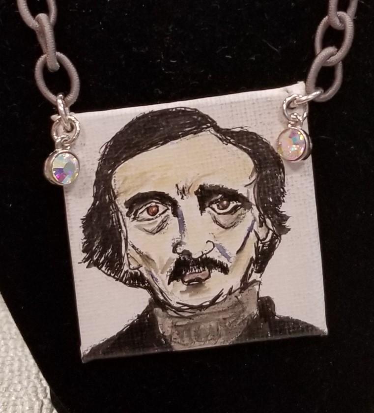 Edgar Allan Poe Handpainted Necklace