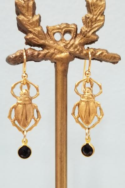 Golden Beetle and Black Drop Earrings
