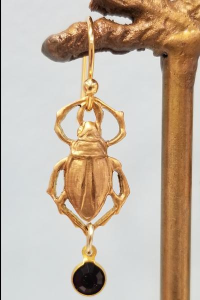 Golden Beetle and Black Drop Earrings