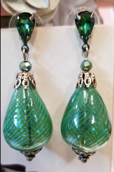 Green Glass Blown Earrings