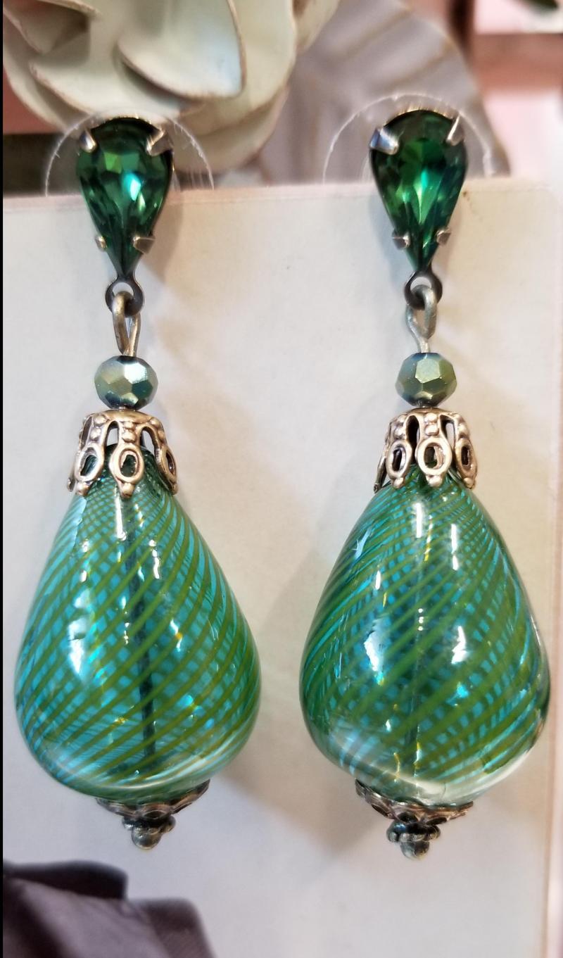 Green Glass Blown Earrings