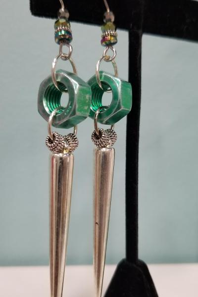 Hex Nut and Spike Earrings