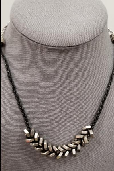 Hex Nut and Braided Leather Necklace