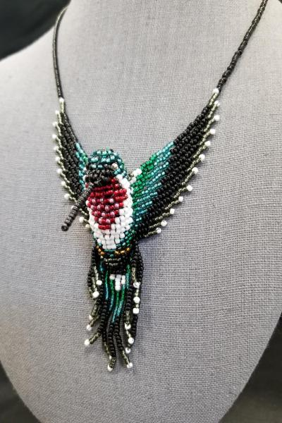Ruby Throated Hummingbird 3-D Beaded Necklace