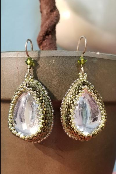 Icy Rain Drop Bead Embroidered Earrings