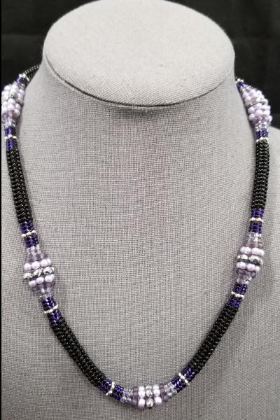 Lilac and Black Tubular Herringbone Beaded Station Necklace