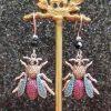 Magenta and Teal Crystal Bee Earrings