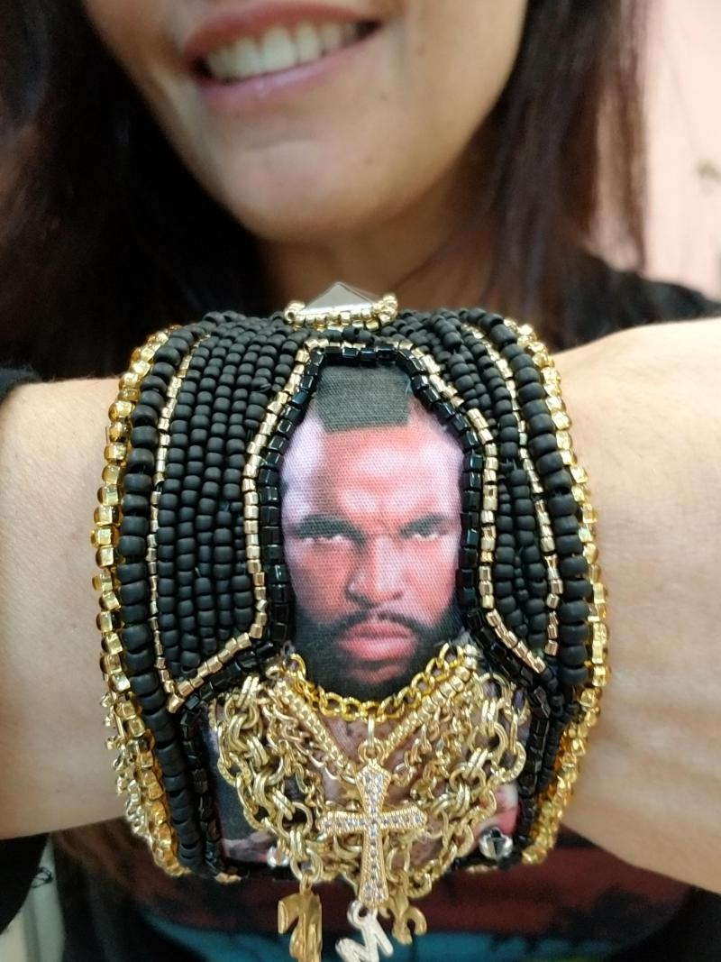 Mr. T Bead Embroidered Cuff Bracelet