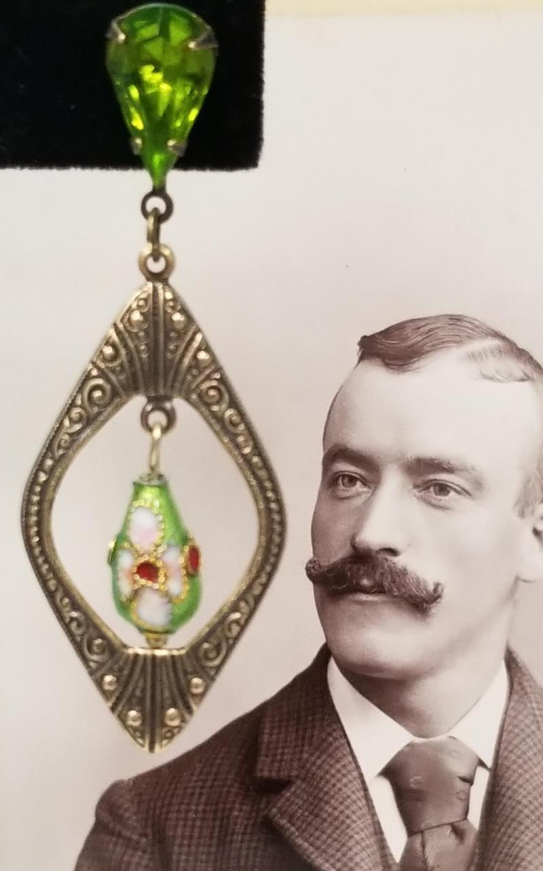 Parakeet Green Cloisonne Earrings