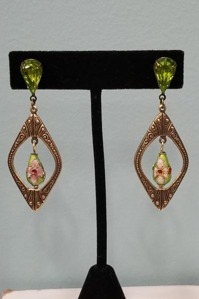 Parakeet Green Cloisonne Earrings