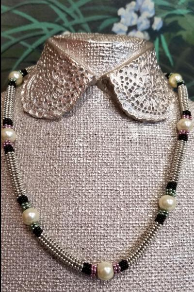 Preppy Pearl Station Beaded Necklace