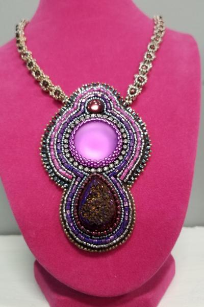 Luminous Purple and Magenta Druzy Bead Embroidered Necklace