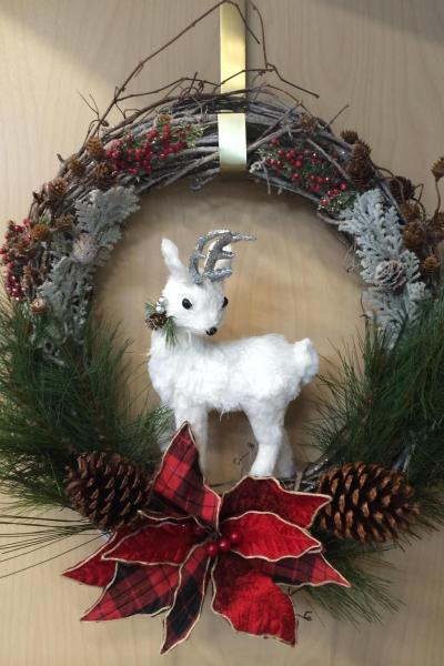 White Reindeer Wreath