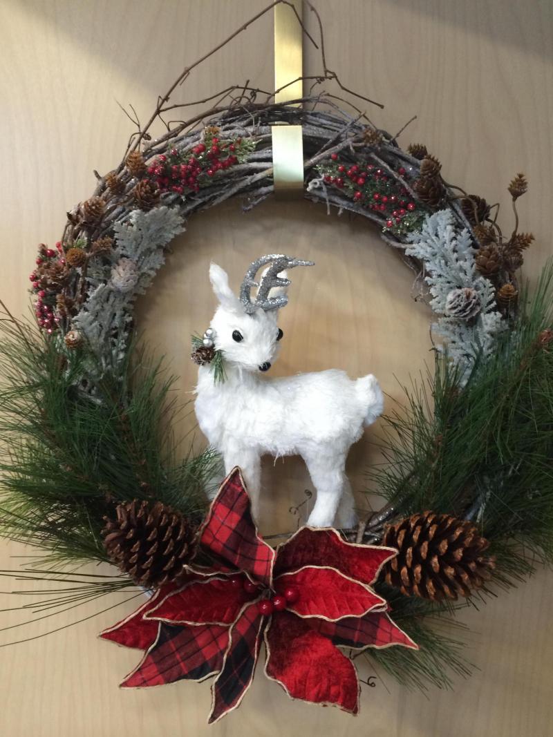 White Reindeer Wreath