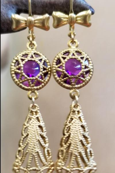Royal Purple Star Filigree Drop Earrings