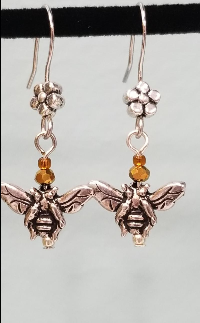 Tiny Silver Bee and Flower Earrings