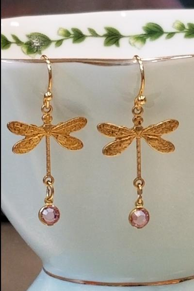 Small Dragonfly with Pink Charm Earrings
