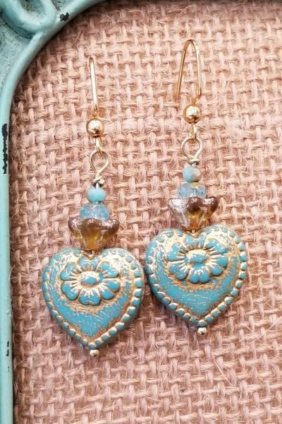 Vintage Aqua-Green Historical Heart Earrings