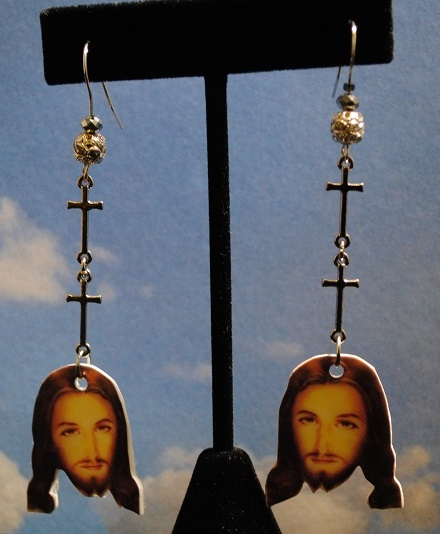 Jesus Earrings with Cross Chains
