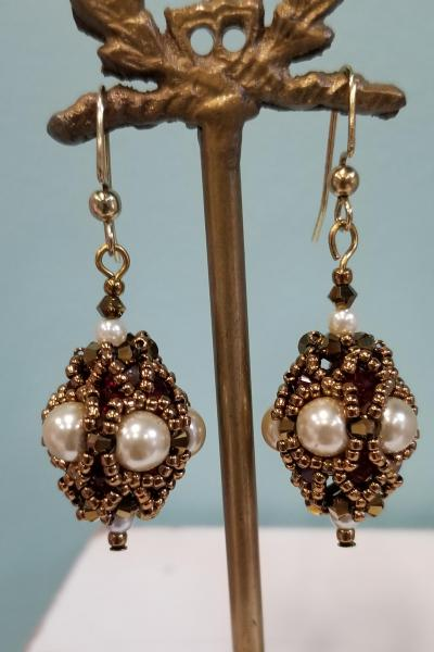 Bronze Bauble Biconical Beaded Earrings