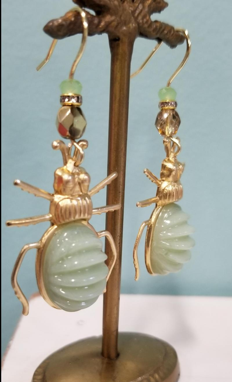Ribbed Golden Ground Beetle Earrings