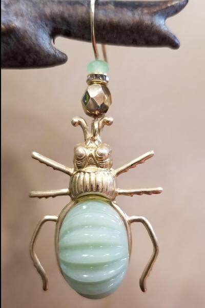 Ribbed Golden Ground Beetle Earrings
