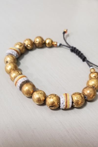 Men's Gold Druzy Bead Bracelet