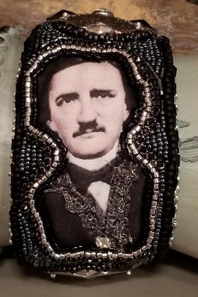 Edgar Allan Poe Beaded Cuff (Art Deco style)