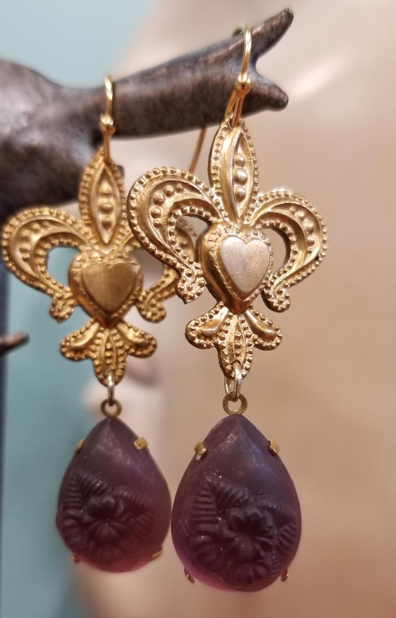 Smoky Lavender Fleur De Lis Earrings