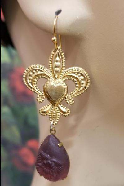 Smoky Lavender Fleur De Lis Earrings